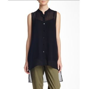 Eileen Fisher Silk Mandarin Collar Tunic Top Black